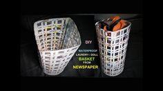 How To Make Waterproof Laundry Basket from Newspaper /  DIY Basket Makin...