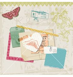 Vintage butterflies and flowers vector on VectorStock®