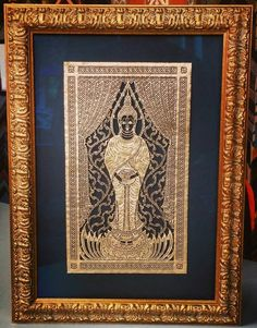 Beautiful Asian artwork on gold tin floated on an acid-free black mat, and an ornate gold frame by Fotiou Frames. Custom framed by FastFrame of LoDo. #art #framing #denver #colorado #fotiou