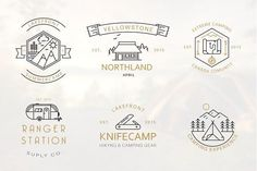 Iconic Camping Logo Badges by lovepower on @creativemarket