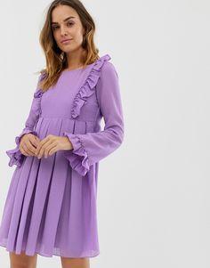 Naf Naf romantic layered dress with long sleeves USD Mini Dress With Sleeves, Dress With Bow, Satin Skater Dress, Cheap Summer Dresses, Silky Dress, Panel Dress, Pop Fashion, Swing Dress, Long Sleeve