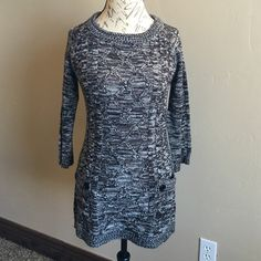 Sweater dress Nice brown/black/white sweater dress front pockets, ideal to wear with leggings or tights, NWOT. Sweaters