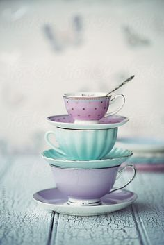 Stack of vintage teacups and saucers by Ruth Black