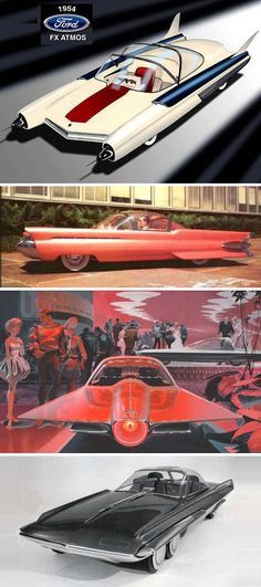 1954 Ford FX Atmos Conceptual Illustrations plus a photo of a 6-Wheeled Prototype based on the initial concepts.