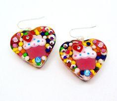 Cupcake earrings candy heart earrings by sparklecityjewelry
