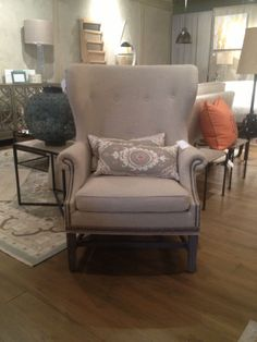 Wing Chair, Natural Fabric with Nailhead Trim - W x D x H Upholstered Chairs, Wingback Chair, Armchair, Wing Chair, Nailhead Trim, Accent Chairs, Design Ideas, House Design, Natural