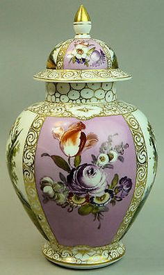 4 of 7: ANTIQUE DRESDEN HELENA WOLFSOHN FINELY HAND PAINTED PORCELAIN VASE & COVER