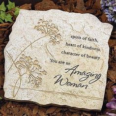 """Amazing Woman Garden Stone by Darby Creek Trading. Save 25 Off!. $32.00. 10.25"""" x 10.25"""". Hand Painted. Polystone. For the Garden or Can be Hung on Wall. Indoor or Outdoor Use. """"Amazing Woman"""" Garden Stone Accent is crafted of polystone with the look and texture of stone; etched design and message. Also hangs. White corrugated box. 10 1/4"""" x 10 1/4"""". ITEM #: 54722T"""