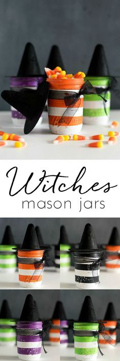 Witch Mason Jars - Mason Jar Craft for Halloween - Mason Jar Witches with mini felt Witch Hats - Halloween craft ideas for Witches