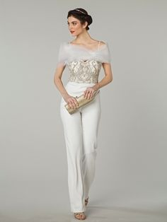Tip of the Shoulder Jumpsuit Wedding Dress  with Natural Waist in Beaded Embroidery. Bridal Gown Style Number:
