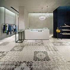 BPMI 04 - Randomly selected encaustic style floor or wall tiles, 600x600mm with an R9 finish.