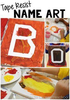 Tape Resist Name Art