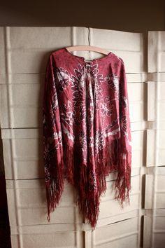 70s silk batik poncho by NYtoLAvintage on Etsy, $27.00