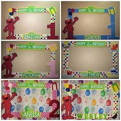 Photo Booth Frame To Take Pictures Sesame Street Elmo Birthday in Home & Garden, Greeting Cards & Party Supply, Party Supplies Monster Birthday Parties, Elmo Party, Happy 2nd Birthday, Happy 1st Birthdays, 1st Boy Birthday, First Birthday Parties, Birthday Party Themes, Birthday Ideas, Party Photo Frame