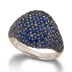 Pave Domed Ring Blue Sapphire dazzle on this ring. De Boulle Collection