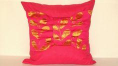 DRAPERY satin  BOW with orange leaves fuchsia pillow by SABDECO, €47.00