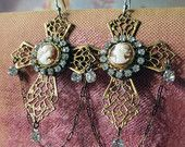 CAMEO CROSSES - vintage assemblage earrings with shell cameos, rhinestones and chain by the french circus