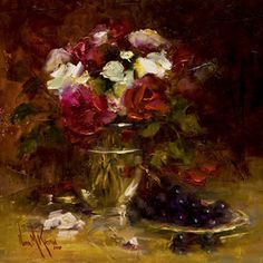 "Oil painting ""Roses & Black Grapes"" 12""x12"" by artist Nora Kasten"