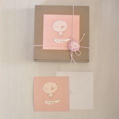 Image of pack 20 invitaciones bautizo osito rosa o beige