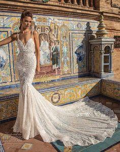 berta fall 2018 bridal thin strap deep sweetheart neckline full embellishment elegant mermaid wedding dress open back royal train (7) mv
