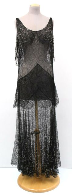 Black lace evening gown c. 1932 Artist/Maker: WORTH, CHARLES FREDERICK (HOUSE OF WORTH) Summary: Very sheer black lace dress. NCMA #G.70.45.7 Access #: 1991.004.162 - The Gregg Museum of Art & Design