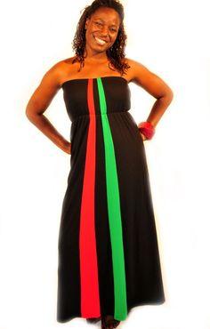Red, Black & Green Maxi Dress
