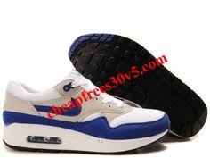 Mens Nike Air Max 1 White Varsity Blue Neutral Grey Black Shoes