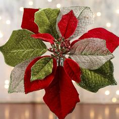 Burlap and Velvet Artificial Poinsettia Stem