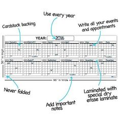 Large Dry Erase Blank Monthly Wall Calendar  X Reusable