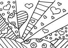 Web Chest: Romero Britto Coloring Pages - Giuditta Luddy Colouring Pages, Adult Coloring Pages, Coloring Sheets, Coloring Books, Arte Elemental, Classe D'art, Arte Pop, Art Classroom, Art Plastique