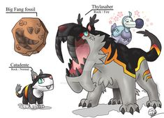 Thylasaber and Catadente by BangBooDoragon Would have been cool to keep the rock/normal type since it's unused Pokemon Vs Digimon, Pokemon Rpg, Mega Pokemon, Pokemon Pokedex, Pokemon Comics, Pokemon Memes, Pokemon Fusion Art, Pokemon Fan Art, Curious Creatures