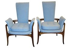 Pair of elegant and streamlined high-back chairs by James Mont, 1960s.    Seller:  Rewind