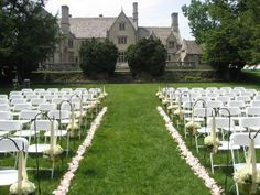 Wedding ceremony set up at Hartwood Acres. Very similar to what we're doing except we should be getting white wooden seats with pads and hanging mason jars with flowers.