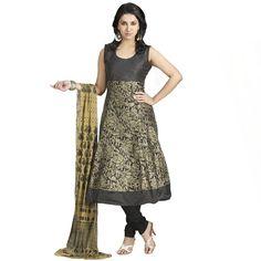 Elegant Black Coloured Festival Wear Chanderi Silk Anarkali Kameez With Zari Embroidery
