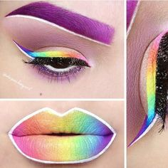 Stunning purple, rainbow and white eye and lip makeup. Done in graduation, so it looks like airbrushing or a painting. By fantastic artist Depeche Gurl aka Christina Parga.
