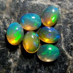 7.2 Carat 9x7 MM Natural Ethiopian Welo Fire Opal Oval Cabochons 6 Pieces Lot #Unbranded