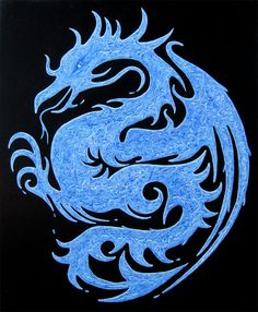 SALE Water Dragon Original Painting on Canvas by theartofthematrix