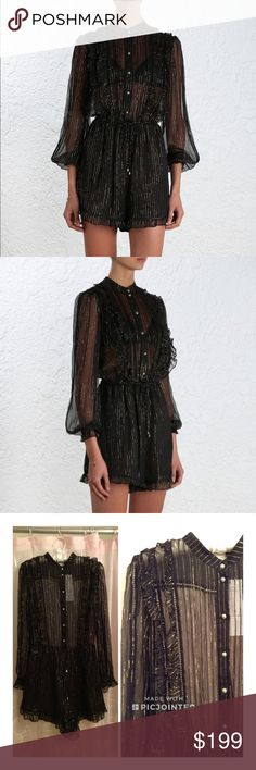 NWT Zimmerman Mischief Frill play suit New. Flawlessly beautiful. Sheer at top. Lined lowered. Pretty silver buttons and ladder stitching details. Size 1 or Small. Zimmermann Pants Jumpsuits & Rompers