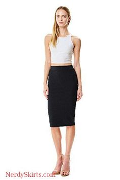 LOVNY Womens Elastic Waistband Stretch Bodycon Mini Length Pencil Skirt Made in USA J