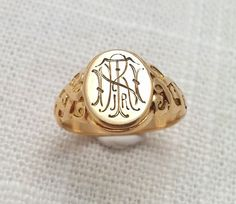 Antique Victorian 1890s 14K Gold Ornate Signet Ring - Monogram Initials
