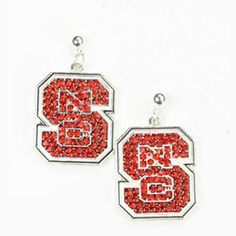 Wolfpack Block S Logo Sterling Silver Jewelry Small for Women//Girls Dayna Designs NC State University Post Earrings