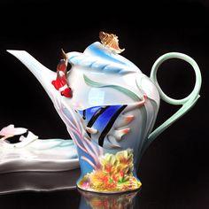 Beautiful Porcelain Tropical Fishes Clown Fish Coffee Set Tea Set Pot Jug Jar | eBay