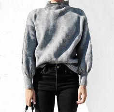 greY kniT anD blacK trouserS iS mY fashioN