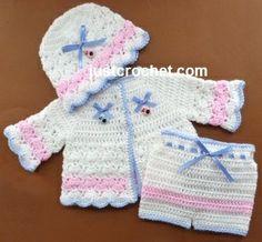 Free baby crochet pattern three piece set http://www.justcrochet.com/cardi-pants-beanie-usa.html #justcrochet #patternsforcrochet: