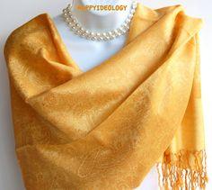 Pashmina Scarf.Yellow Pashmina/Shawl Scarf.Winter by HappyIdeology