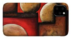 Abstract IPhone Case featuring the painting Abstract moons by Iulia Paun