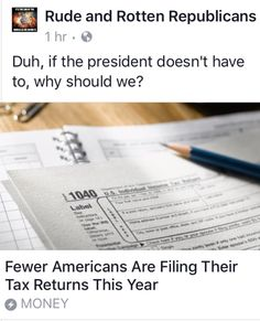 All those that voted for Trump knowing he doesn't pay taxes and is currently living it up Spending MILLIONS of our hard earned tax dollars and you don't have a problem with it......YOU ARE A BIG PART OF WHAT'S WRONG WITH THIS COUNTRY!!