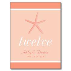 Starfish Wedding Table Number   Coral Starfish Post Card