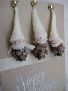 Items similar to Woodland Gnome Ornaments Tiny Pine Cone Elves -- set of 3 on Etsy Pine Cone Crafts, Christmas Projects, Holiday Crafts, Holiday Fun, Gnome Ornaments, Diy Christmas Ornaments, Christmas Decorations, Pinecone Ornaments, Holiday Decorating