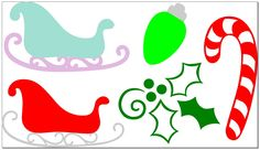 FREE SVG File – Christmas Decorations, Santa Sleigh, Candy Cane, Holly   Miss Vickie's CuttingCrazy Blog